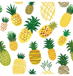 seamless pattern with ananas vector image vector image