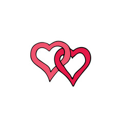 two hearts cartoon hand drawn icon vector image