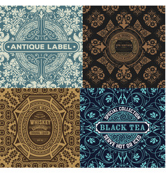 vintage label set with wallpaper retro desig vector image vector image