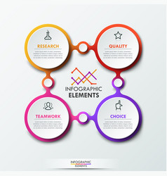 infographic design template with 4 connected vector image