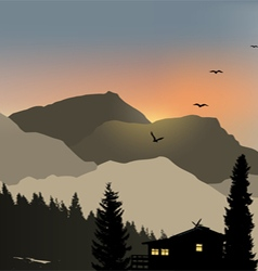 Lonely House Mountain View vector image vector image