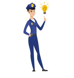 Policewoman pointing at idea light bulb vector