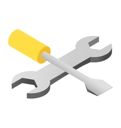 Screwdriver and wrench isometric 3d icon vector image vector image