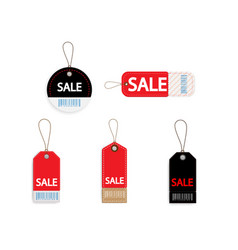 set of price discount sale tag label with barcode vector image
