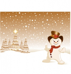 snowman Christmas background vector image vector image