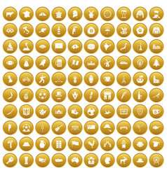 100 map icons set gold vector