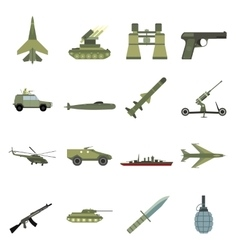 16 weapon flat icons set vector image