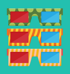 3d glasses of flat vector