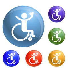 adult wheelchair icons set vector image