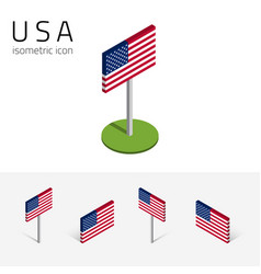 american flag usa set isometric icons vector image
