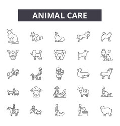 animal care line icons signs set outline vector image