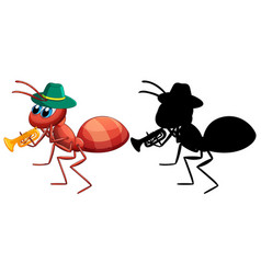 Ant and it silhouette vector