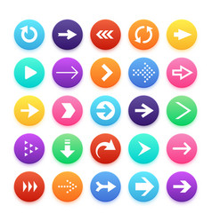 arrow color web button icons arrowhead and repeat vector image