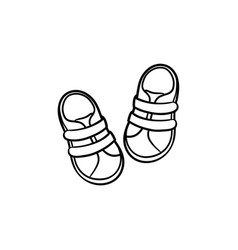 baby shoes hand drawn outline doodle icon vector image