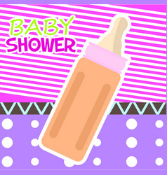baby shower card with a baby bottle vector image