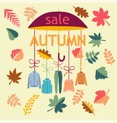 background autumn sale background with leaves vector image