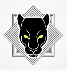 Black panther head puma face leopard tiger vector