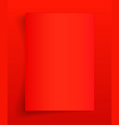 Blank a4 sheet red paper with shadow template vector