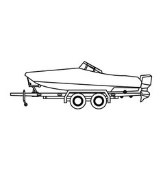 Boat with trailer nautical transport luxury vector
