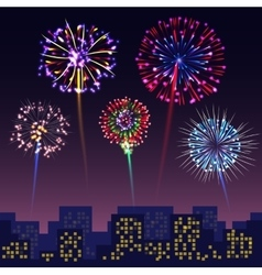 Bright festive fireworks with modern city vector