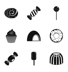 candies icon set simple style vector image