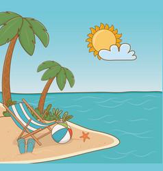 chair in beach scene vector image