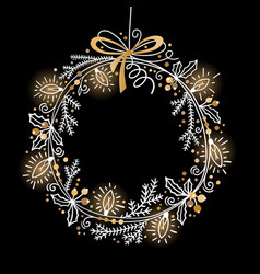 christmas festive wreath fir branches holly vector image