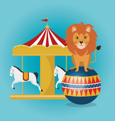 Circus crousel with lion vector