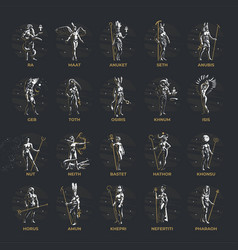 Collection african and egyptian gods and heroes vector