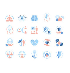 Colored leadership traits icons collection vector