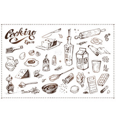 cooking food set hand drawn sketche vector image