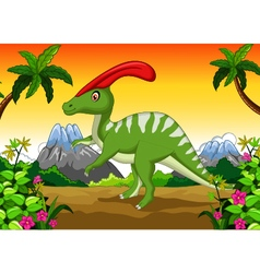 Dinosaur Parasaurolophus cartoon in the jungle vector image