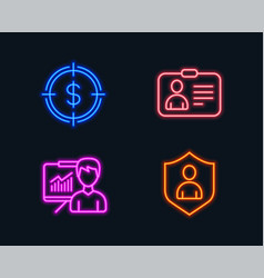 dollar target presentation and id card icons vector image