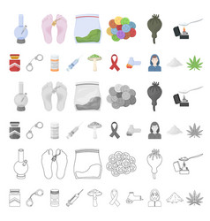 drug addiction and attributes cartoon icons in set vector image