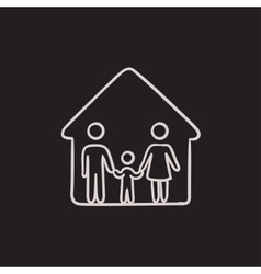 Family house sketch icon vector image