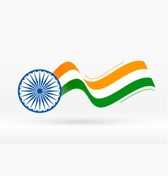 Flag india in creative wave style vector