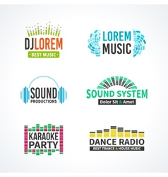 Fourth set of dj music equalizer logo vector image