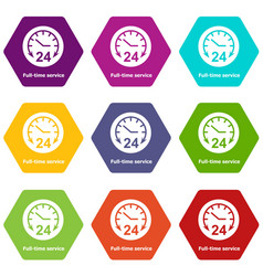 Full time service icons set 9 vector