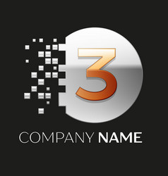 golden number three logo symbol in silver pixel ci vector image