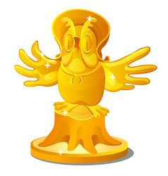 golden statue of an old owl on a stump with a hat vector image