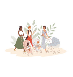 Group cute women with babies in prams vector