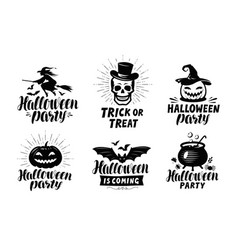 halloween logo or labels holiday symbol vector image