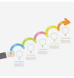 Hand holding five step Timeline Infographic vector
