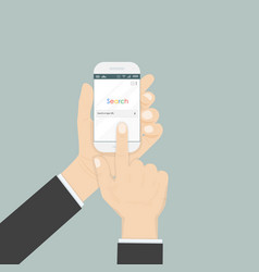 hand holding smartphone and search browser vector image