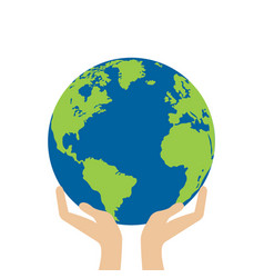 hands is holding small earth vector image