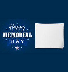 happy memorial day usa lettering banner vector image