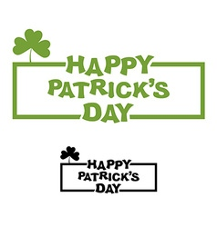 Happy Patricks day Logo for traditional holiday in vector image
