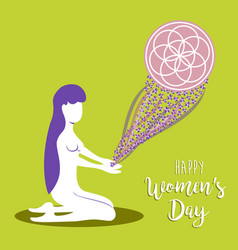 happy womens day meditation mandala concept vector image