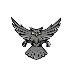 horned owl swooping front mascot vector image