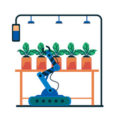 House plant care robot with robotic arm in vector